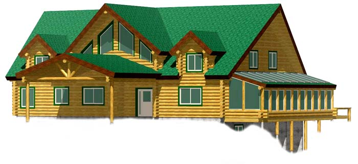 Lodge Style Log Home Kit on Full Above Ground Basement