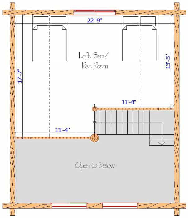 24x28 Glacier Loft floor plan design