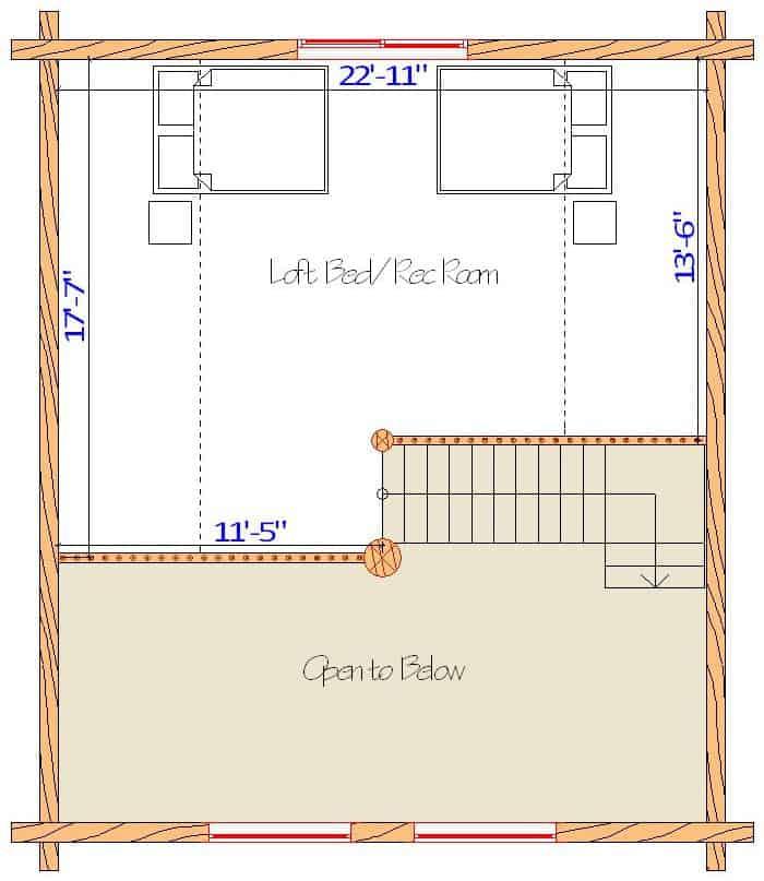 24x28 Glacier Loft floor plan