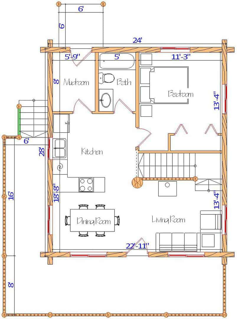 24x28 Glacier Main floorplan design