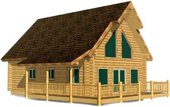 24x32 Elkhorn Grande best small log cabin floor plan 350