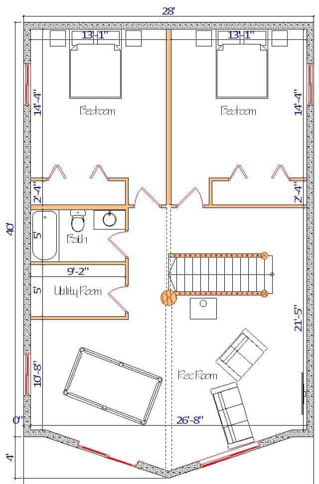 28x40 Sundown Valley Basement layout