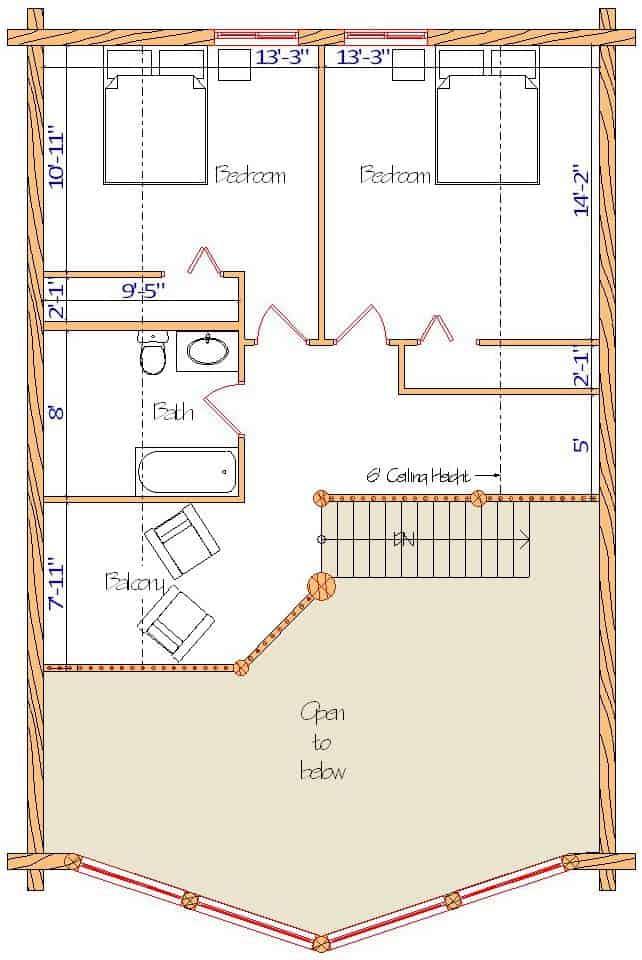 28x40 Sundown Loft floor with balcony