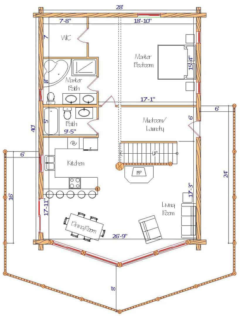 28x40 Sundown Main Floor plan best log home design