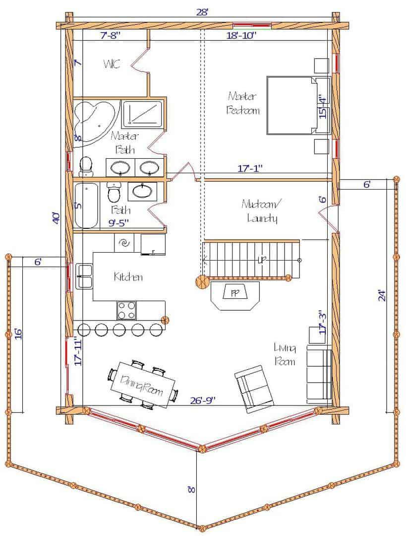 28x40 Sundown Main Floor plan best log home design