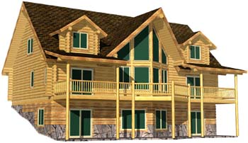 28x48 Ponderosa 3D Front view of the log cabin