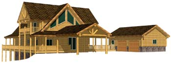 32x44 Yellowstone 3D Entry portico with attached garage 350