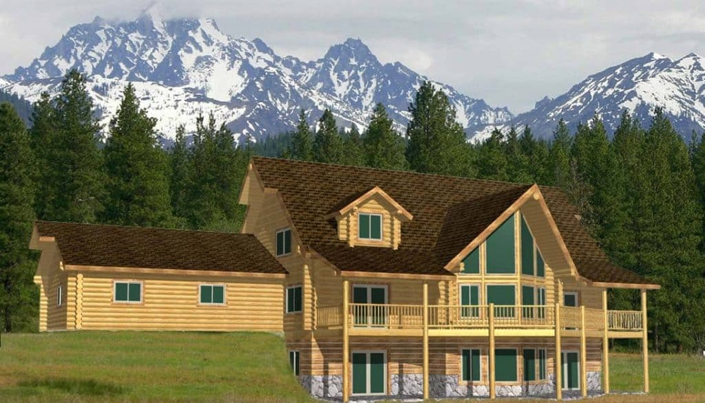 Cascade Lodge log home design with attached garage
