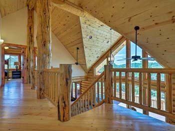 Ponderosa lodge loft nice log balcony with SPF 2x6 T&G flooring
