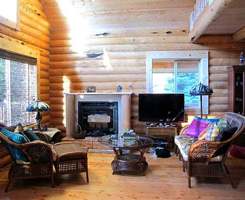 glacier chalet small log cabin living room