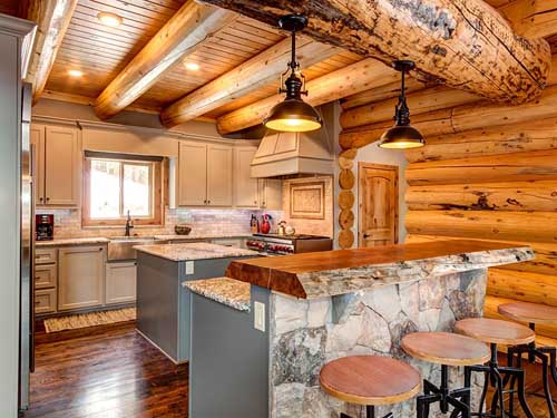 log home kitchen island live edge slab