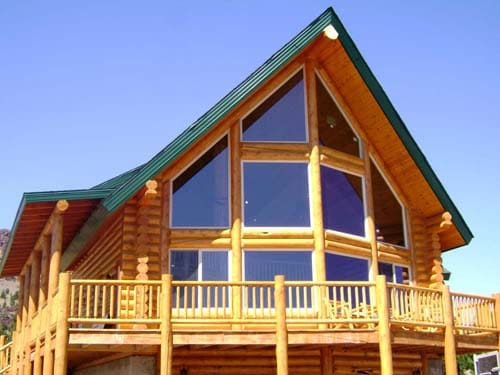 Sundown Chalet log cabin with lots of front glass