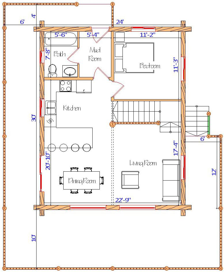 24x28 Glacier Majestic Main floor plan on small log cabin footprint