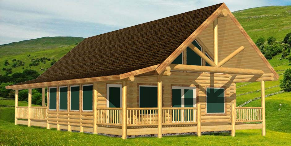 log cabin with sunroom