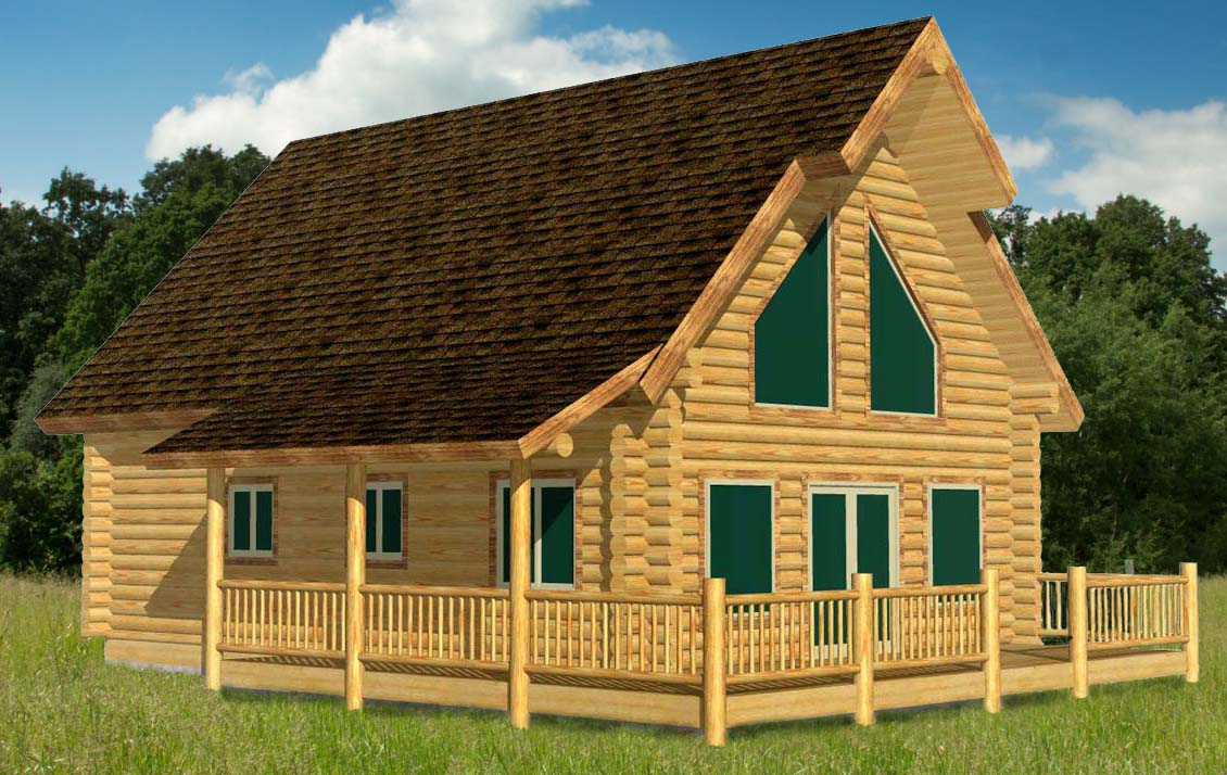 24x32 Elkhorn Chalet Log Cabin 3D front view