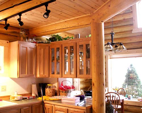 24x32 Elkhorn kitchen U shape small log cabin