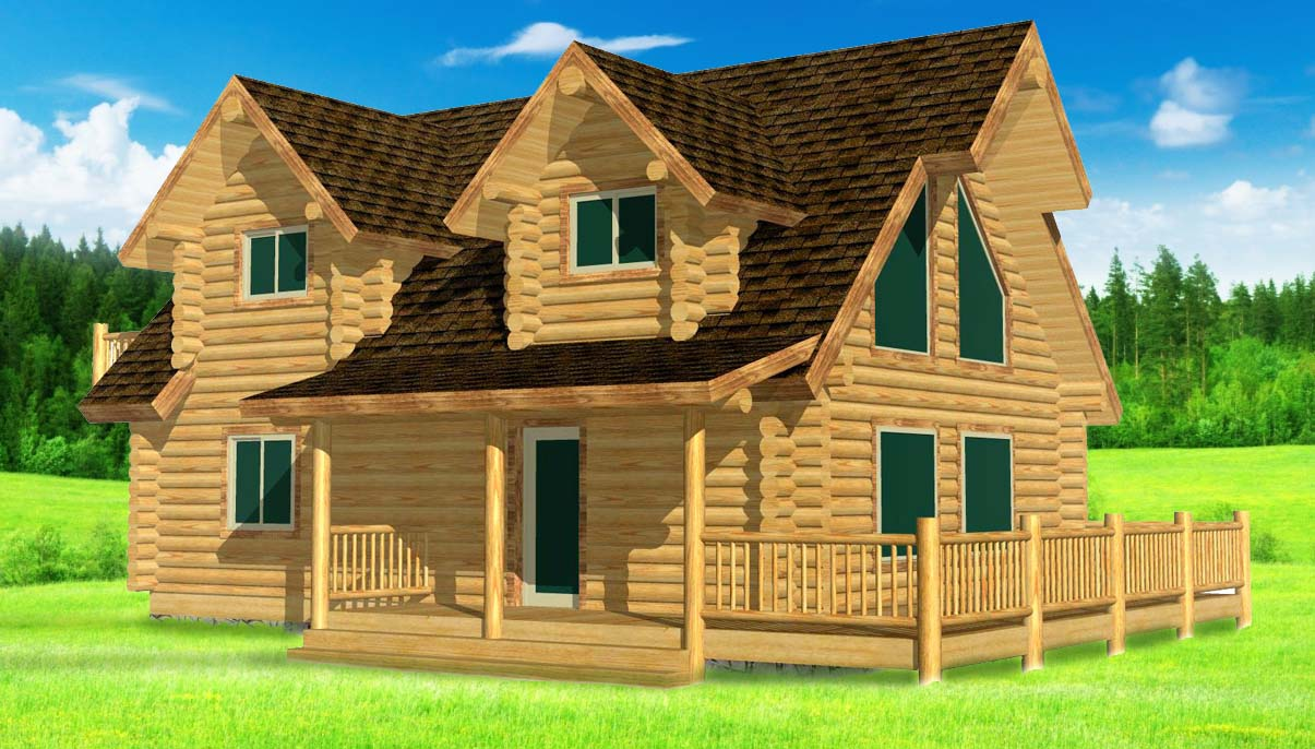 24x32 Elkhorn Log Cabin design 3D with gable dormers
