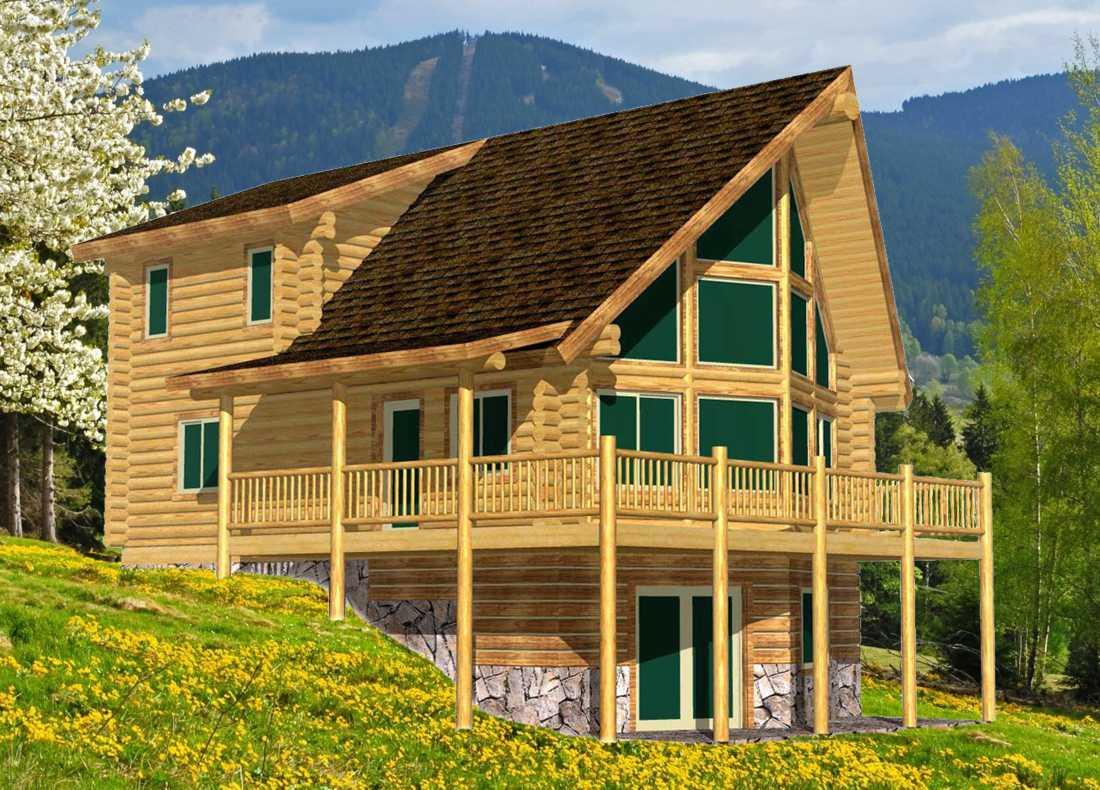 24x32 Elkhorn Sunrise log cabin design with big v prow shape