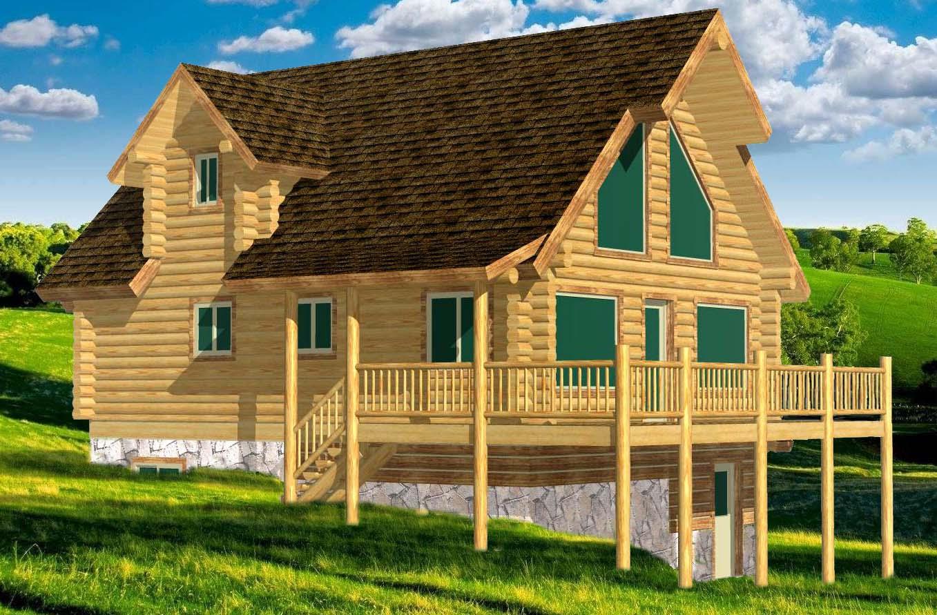 24x32 Elkhorn Valley 3d log cabin design