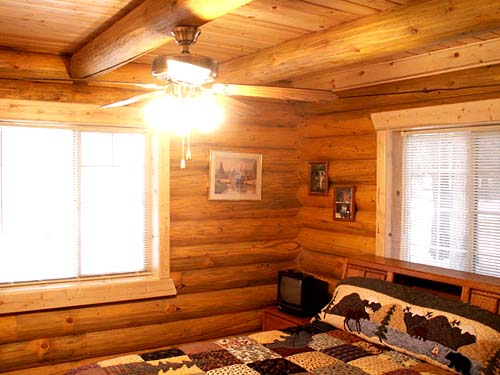 smaller log cabin bedroom picture
