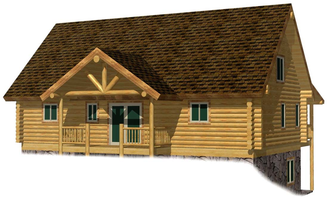 24x42 Spruce Lodge log home design 3D