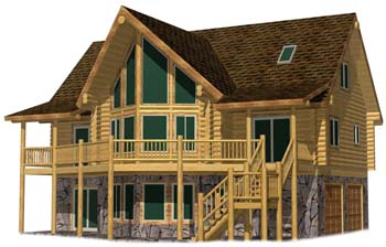 24x42 Cascade Lodge front view log design