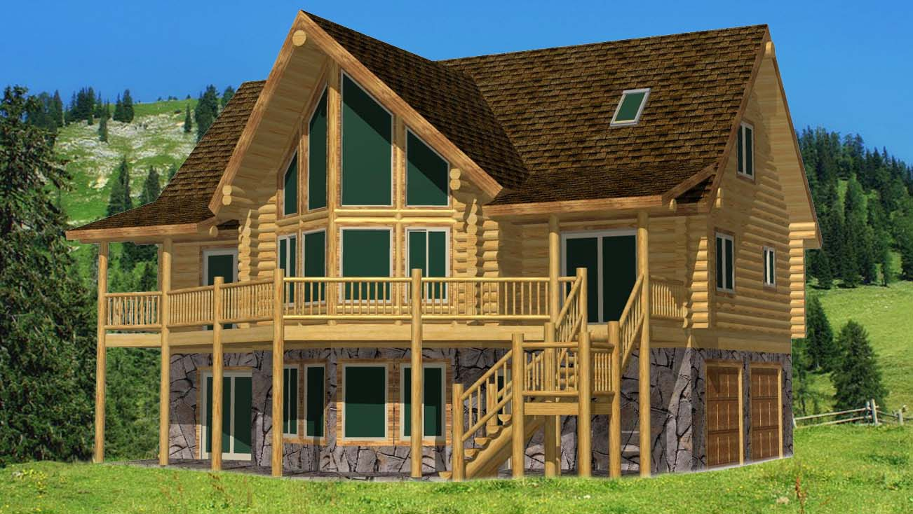 24x42 spruce lodge log home design lower cost bang for buck home