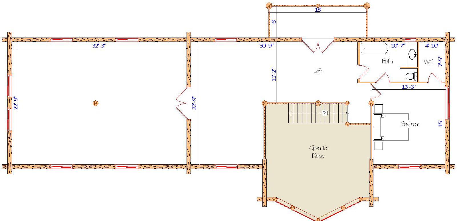 24x48 Blue Lake Main custom log home plan