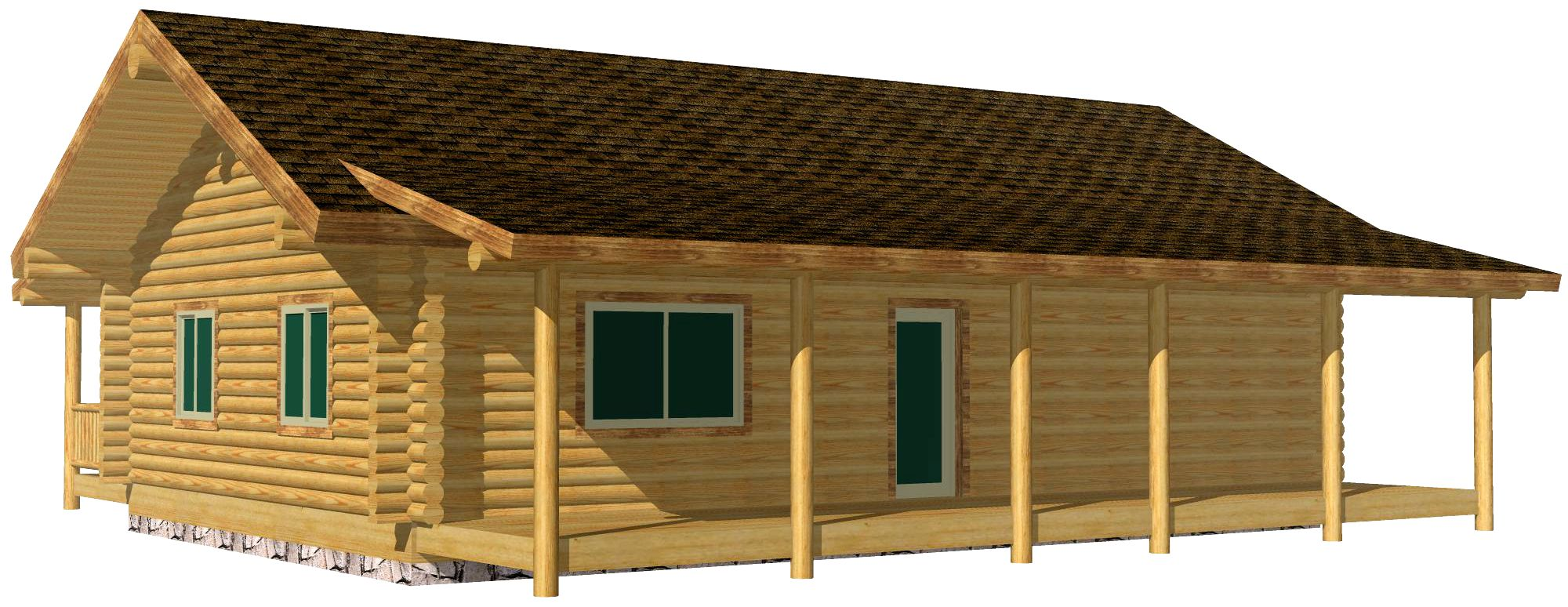26x40 Eagle Creek smaller log cabin design with full length porch North Dakota