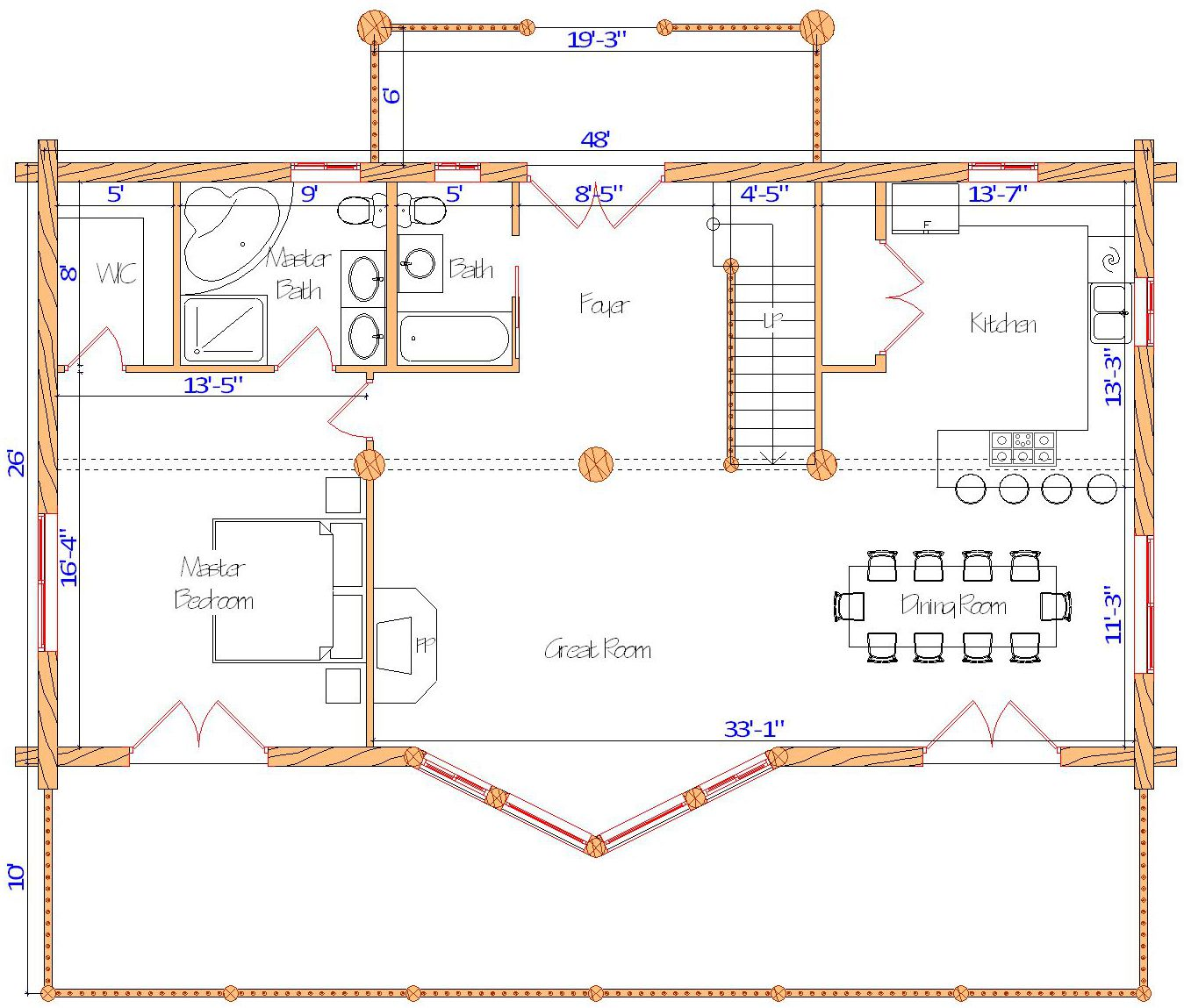 Blue Lake log home package design layout main floor