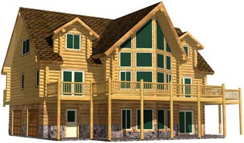 26x48 Cascade Hybrid British columbia log home rental design kelowna