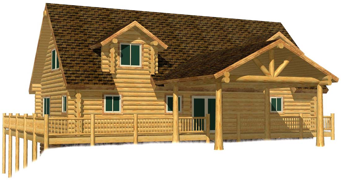 26x48 Cascade Hybrid log home rental drive through portico carport british columbia