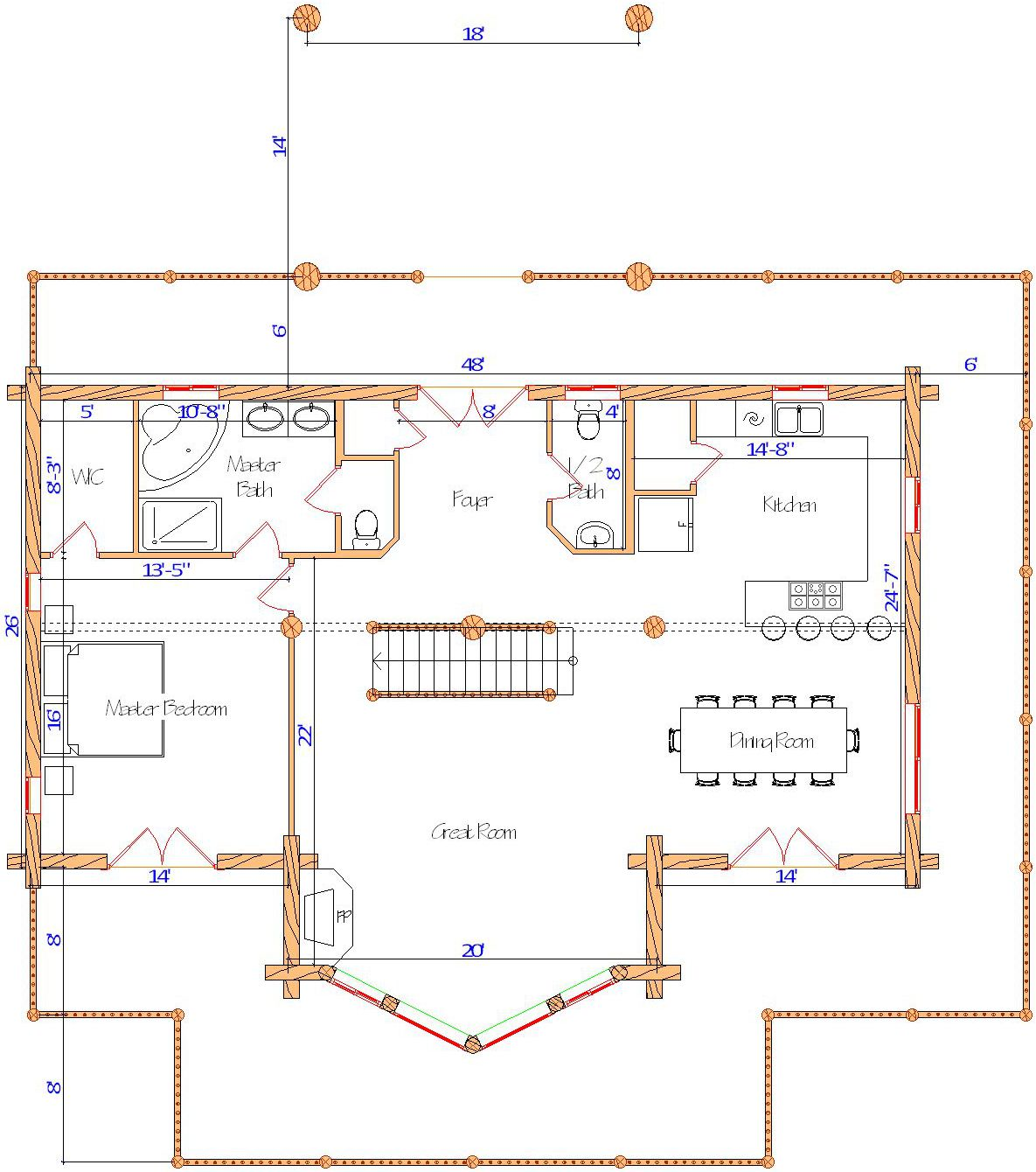 26x48 Cascade Hybrid Main floor plan super with drive under portico canada