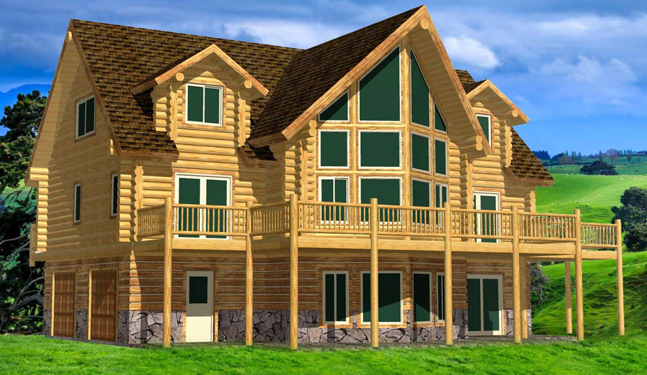 26x48 Cascade Hybrid log lodge design kelowna canada rental retreat
