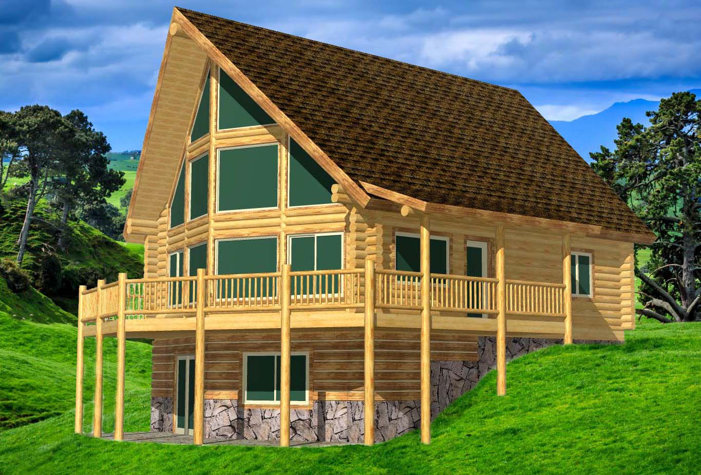 28x32 Sunrise on walkout daylight basement the best log home kit