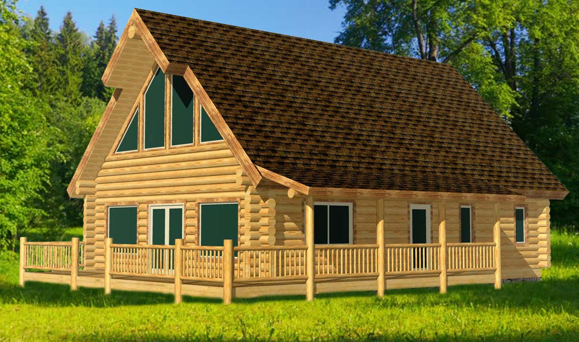 28x40 Alpine Glow has a great mid size log home feel
