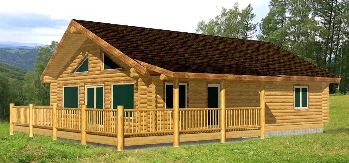 28x40 Eagle Creek great single floor rancher low cost log cabin