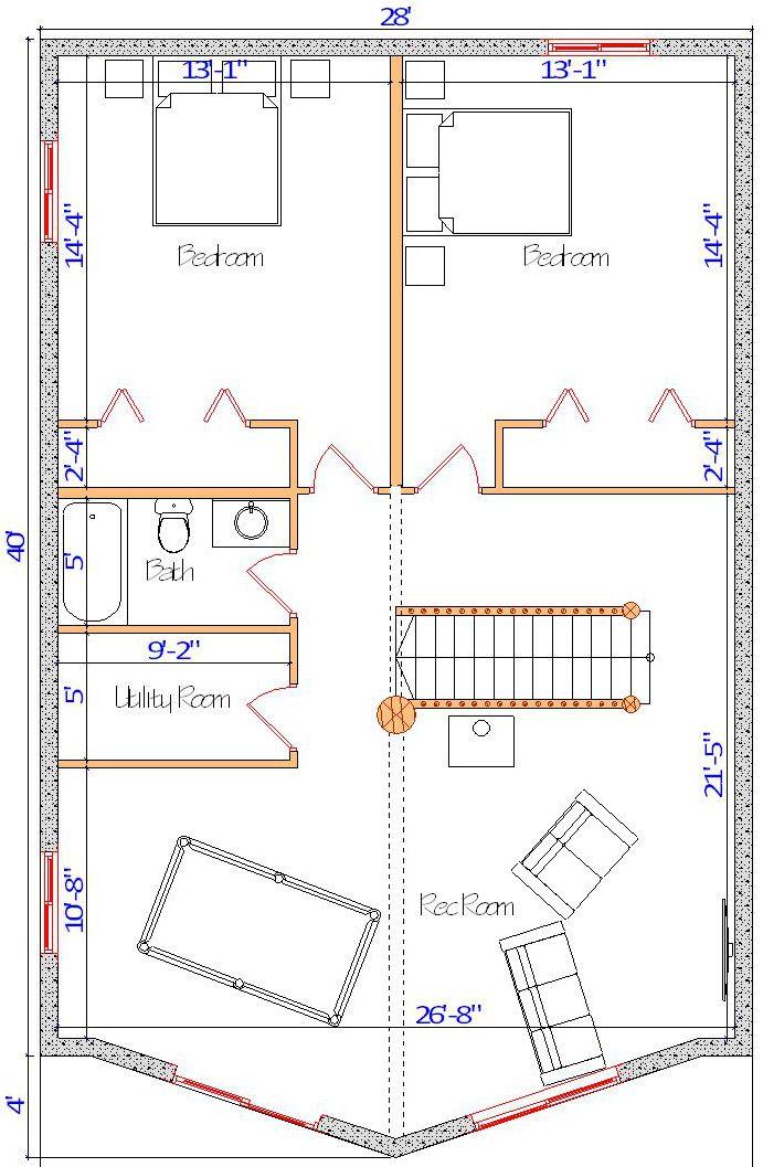 28x40 Sundown Basement floor layout log cabin