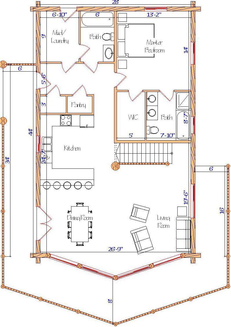 28x44 Sunset Main log home floorplan