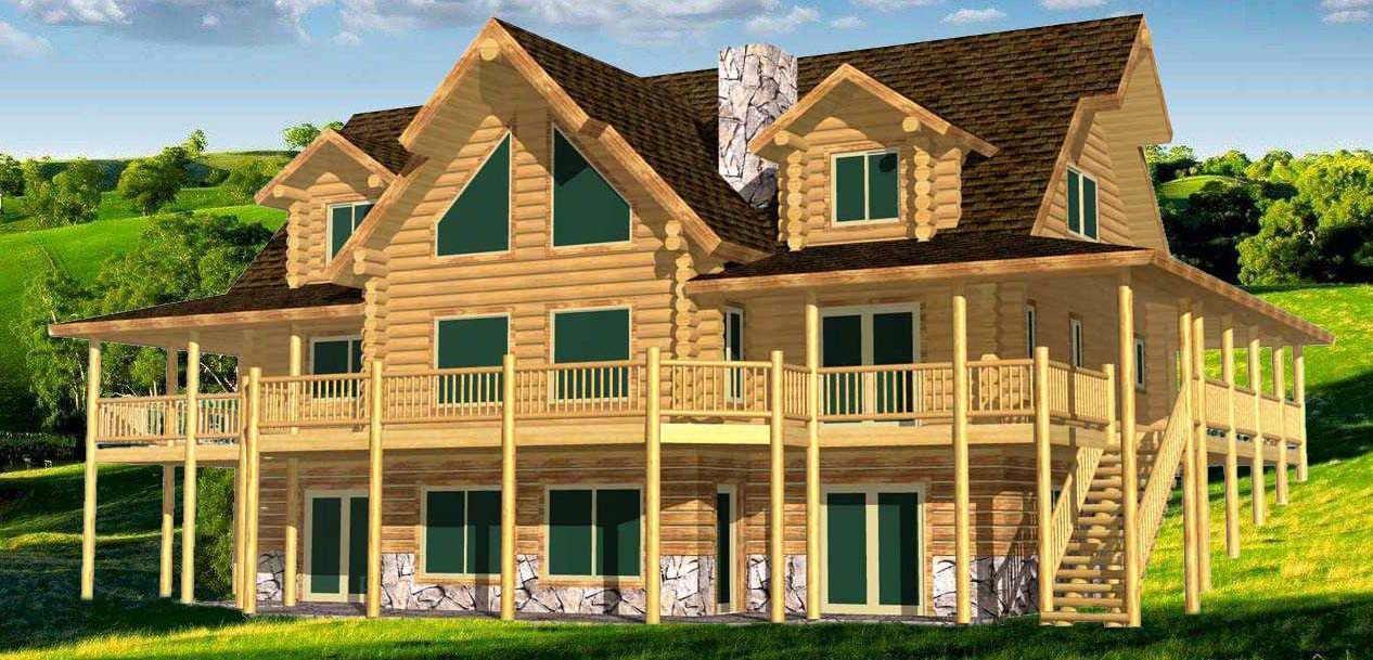 28x48 Lakeview Log Home 3D Prowside view background