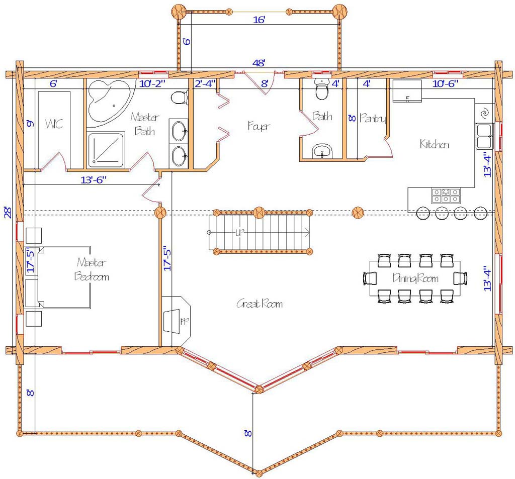 28x48 Ponderosa Main Floor plan design log cabin