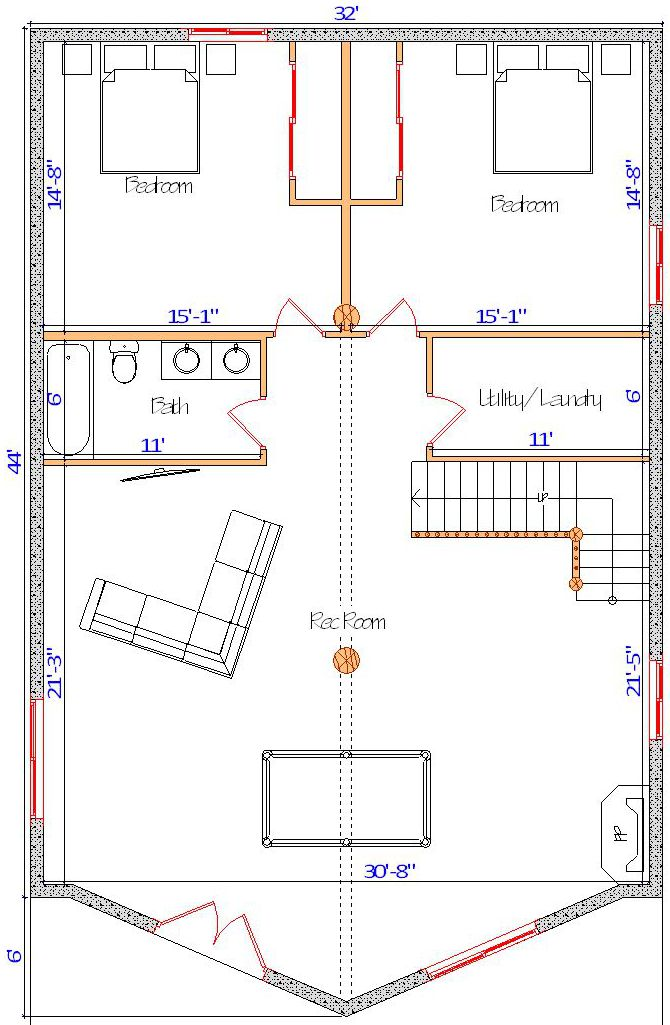 32x44 Yellowstone Basement floorplan with pool table log cabin wyoming