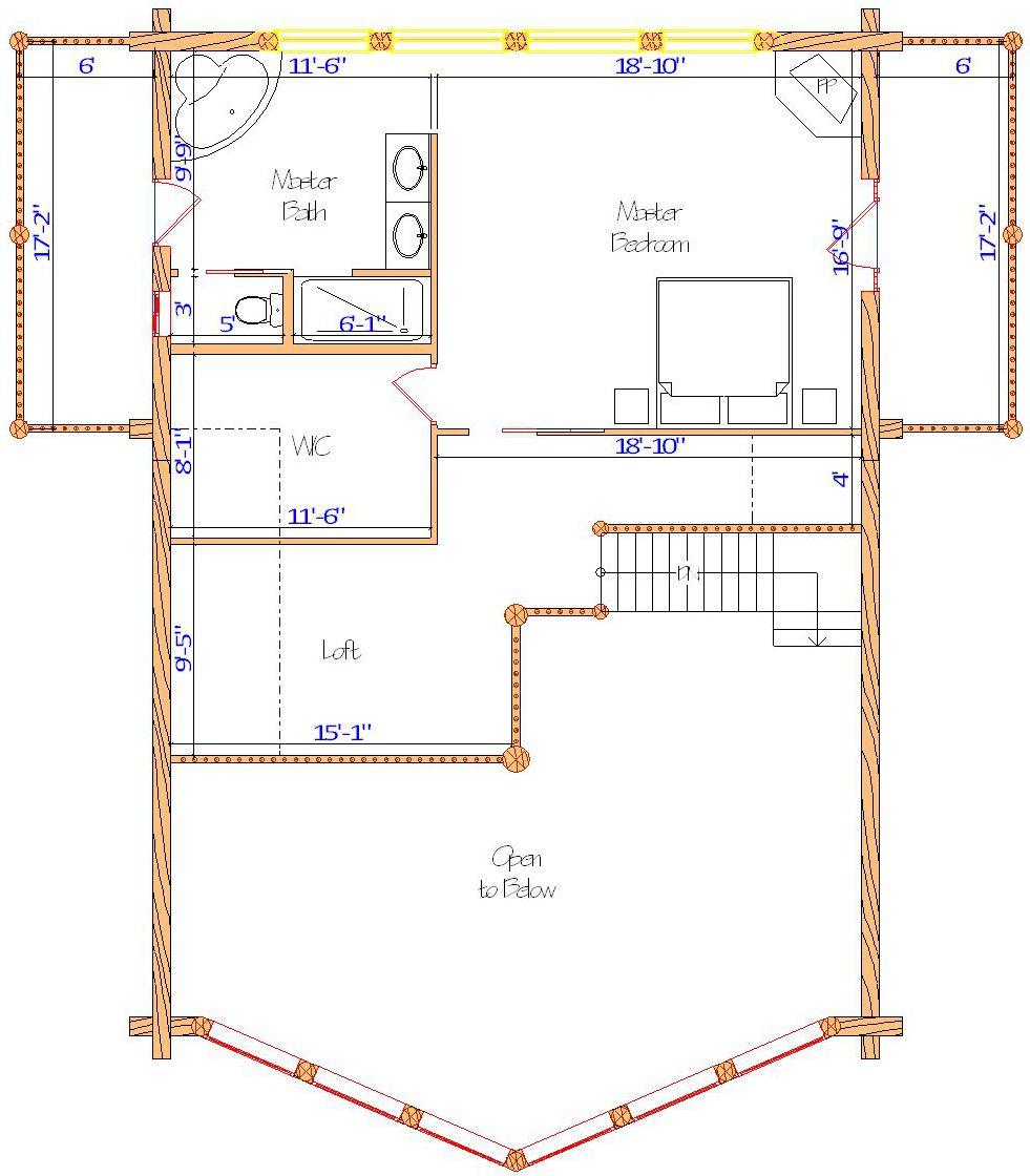 32x44 Yellowstone Loft in tennessee near lebanon master bedroom log home