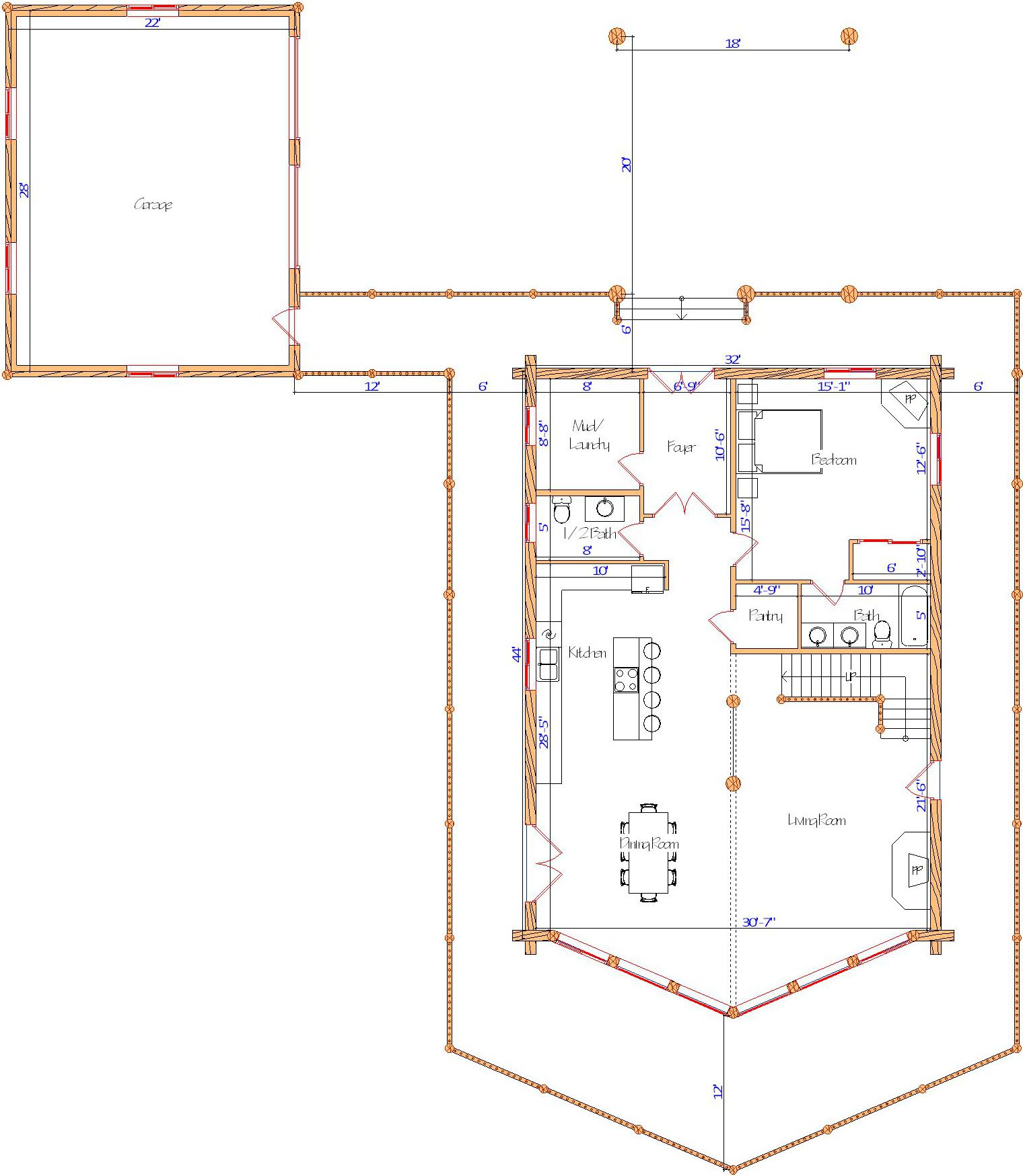 32x44 Yellowstone Main floor plan layout tennessee log home design