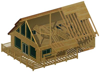 3D Section for web log cabin