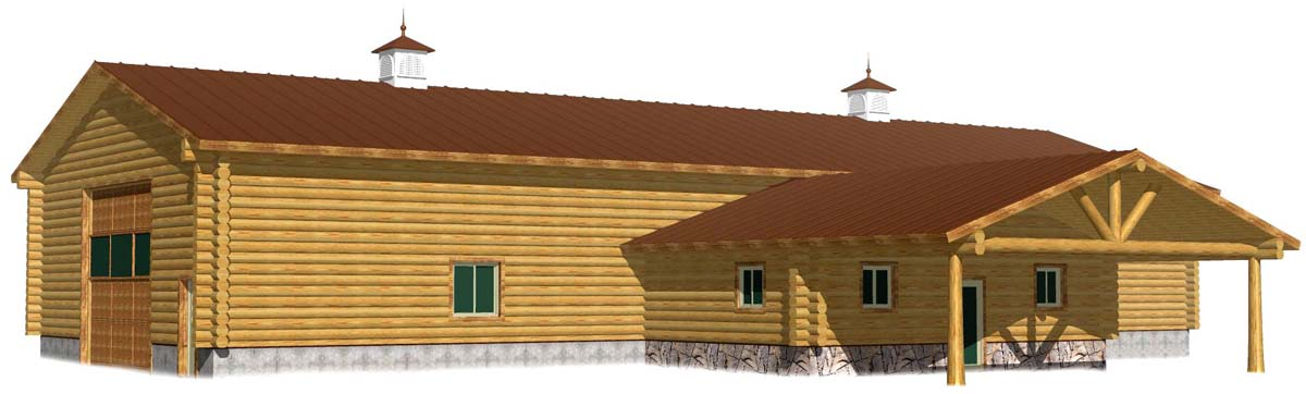 40x100 foot log barn or shop with office area and huge portico