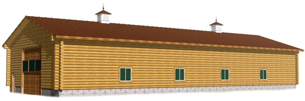 40x100 Shop 3D log shop log barn