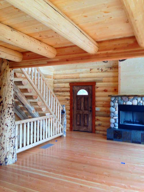 Antler Ridge Chalet log home fir flooring