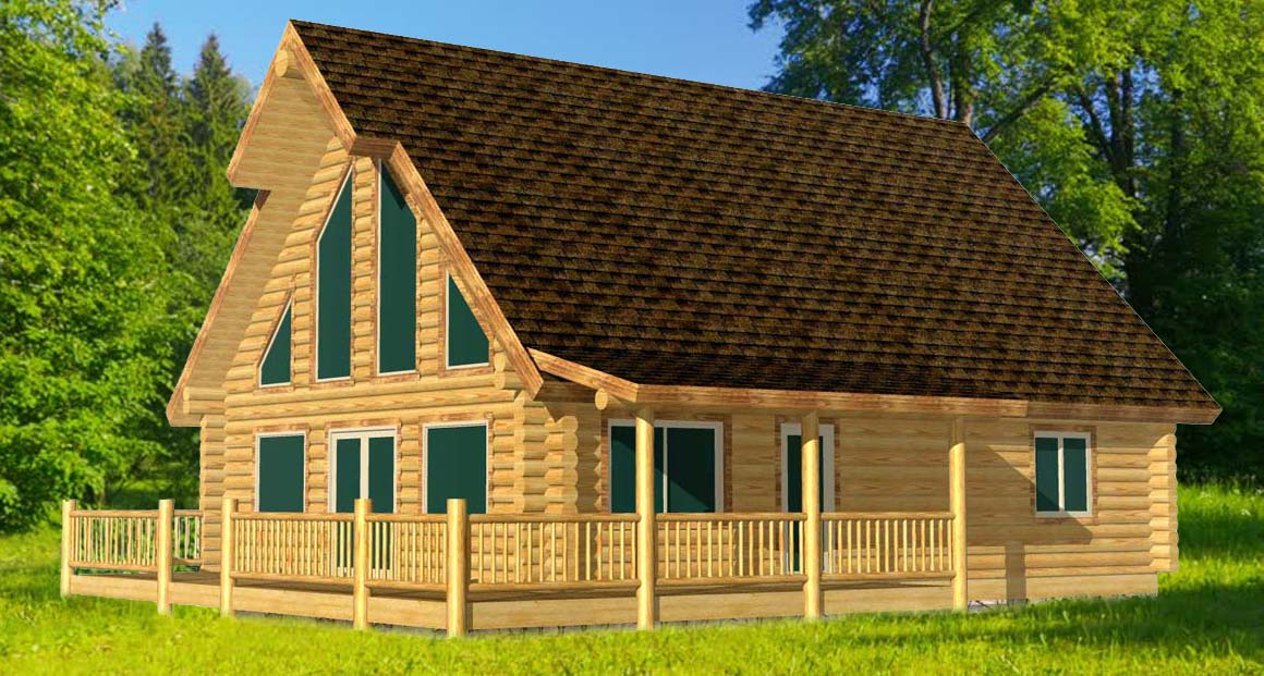 Antler Ridge mid sized log cabin chalet inexpensive