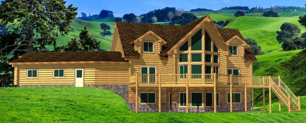 Cascade Grande log home package front prow design with garage colorado